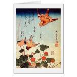 ヘビイチゴに小鳥, 北斎 Bird and Mock Strawberry, Hokusai Greeting Card