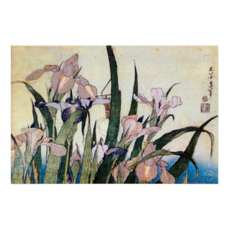 杜若ときりぎりす, 北斎 Iris and Grasshopper, Hokusai Poster