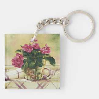 0511 African Violets in Mosaic Planter Double-Sided Square Acrylic Key Ring