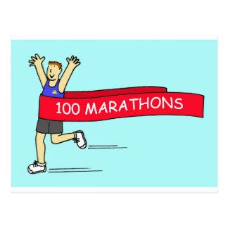 100 marathon congratulations for a male. postcard