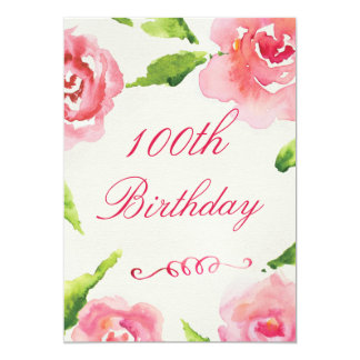 100th Birthday Chic Watercolor Roses 13 Cm X 18 Cm Invitation Card