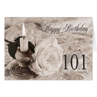 101st Birthday card with an antique rose
