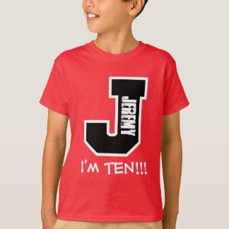 10th Birthday Big Alphabet Letter J I'm Ten V10 Shirt