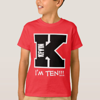 10th Birthday Big Alphabet Letter K I'm Ten V10 T Shirts