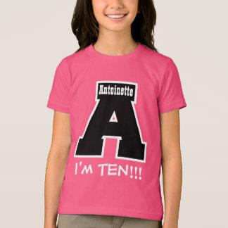 10th Birthday Big Letter A I'm Ten V12 Tee Shirt