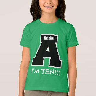 10th Birthday Big Letter A I'm Ten V13 Tee Shirts
