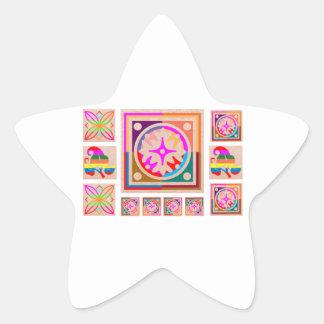 11 Square Decorations - Goodluck Oriental Art Star Sticker