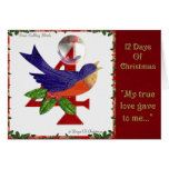 12 Days of Christmas Four Calling Birds Greeting Card
