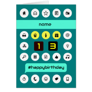 13th hashtag computing birthday add name greeting card