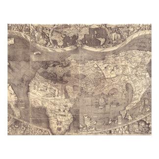 1507 Martin Waldseemuller World Map 21.5 Cm X 28 Cm Flyer