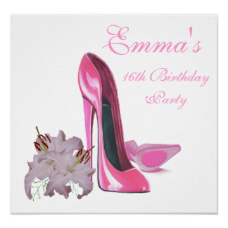 16th Birthday Party Poster with Pink Stiletto Shoe