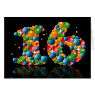 16th birthday with numbers formed from balls greeting card