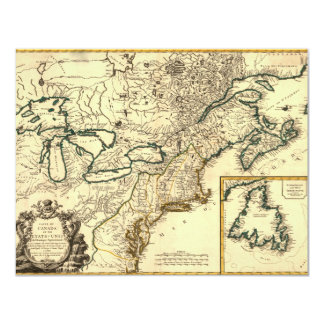 1778 Map of Canada and the United States 11 Cm X 14 Cm Invitation Card