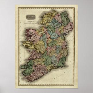 1813 Ireland Map by John Pinkerton Poster