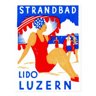 1929 Art Deco Strandbad Lido Luzern Postcard