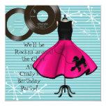 1950's Theme Birthday Party 13 Cm X 13 Cm Square Invitation Card