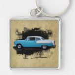 1955 Chevy Bel Air- Classic Cars-Keychain Silver-Colored Square Key Ring