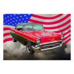 1957 Chevrolet Bel Air And American Flag Poster