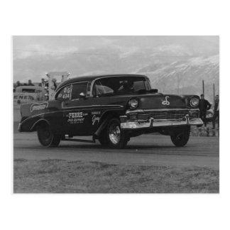 1957 chevy belair gasser postcard