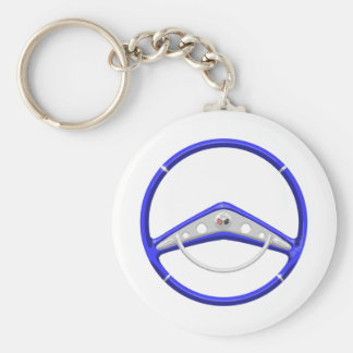 1959 Blue Chevrolet Steering Wheel Basic Round Button Key Ring