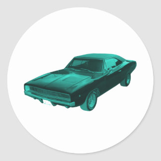 1968 dodge charger blue mopar round sticker