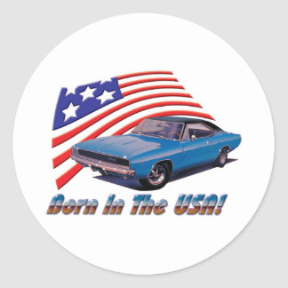 """1968 Dodge Charger """"Born in the USA"""" Round Sticker"""