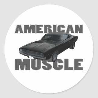1968 dodge charger r/t american muscle round sticker