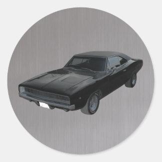 1968 dodge charger r/t mopar black gray round sticker