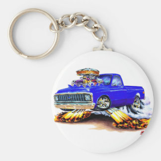 1970-72 Chevy C10 Blue Longbed Basic Round Button Key Ring