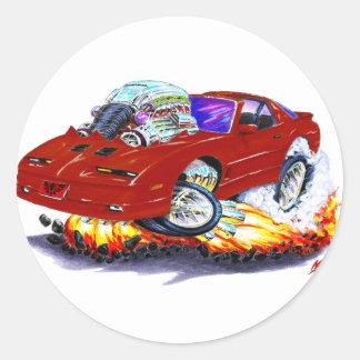 1982-92 Trans Am Maroon Car Round Sticker