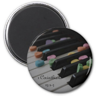 1 Corinthians 13:1-3 Candy Hearts on Keyboard 6 Cm Round Magnet