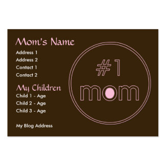 #1 Mom - Mommy Card - Brown & Pink Design Pack Of Chubby Business Cards