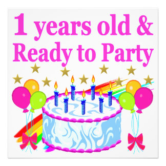 1 YEARS OLD AND READY TO PARTY BIRTHDAY GIRL ART PHOTO