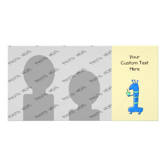 1st birthday cartoon, in blue and green. customised photo card