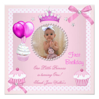 1st Birthday Girl Pink Cupcakes White Pearl Baby 13 Cm X 13 Cm Square Invitation Card
