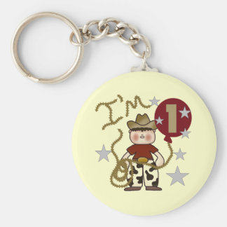 1st Cowboy Birthday Tshirts and Gifts Basic Round Button Key Ring