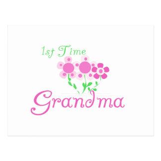 1st  Time Grandma-Pink Flowers Postcard