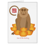 2016 Chinese Year of the Monkey with Gold Bars Greeting Card