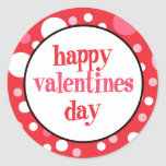 20 Happy Valentines Day Cupcake Toppers Round Sticker