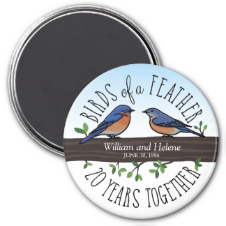 20th Wedding Anniversary, Bluebirds of a Feather 7.5 Cm Round Magnet