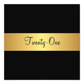 21st Birthday Black and Yellow Gold 13 Cm X 13 Cm Square Invitation Card