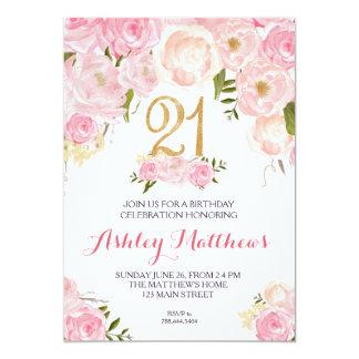 21st birthday Floral Invitation, 13 Cm X 18 Cm Invitation Card