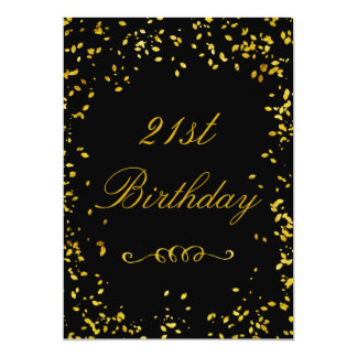21st Birthday Glamorous Gold Confetti 13 Cm X 18 Cm Invitation Card