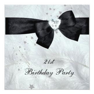 21st Birthday Party Black White 13 Cm X 13 Cm Square Invitation Card