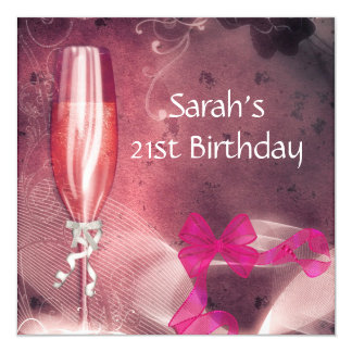 21st Birthday Party Pink Champagne Glass Bow 2 13 Cm X 13 Cm Square Invitation Card