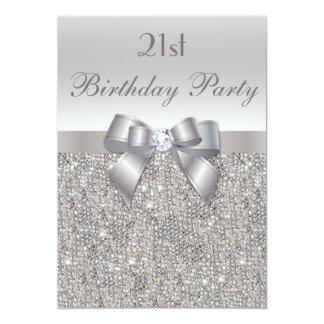 21st Birthday Party Silver Sequins, Bow & Diamond 13 Cm X 18 Cm Invitation Card