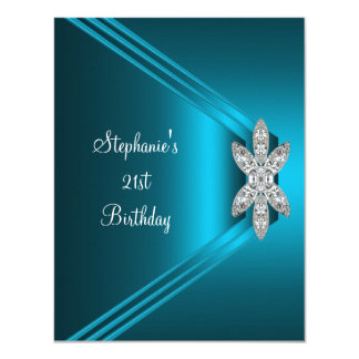 21st Birthday Party Teal Blue Silk Diamond Jewel 11 Cm X 14 Cm Invitation Card