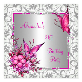 21st Birthday Pink Floral Butterfly Silver White 13 Cm X 13 Cm Square Invitation Card