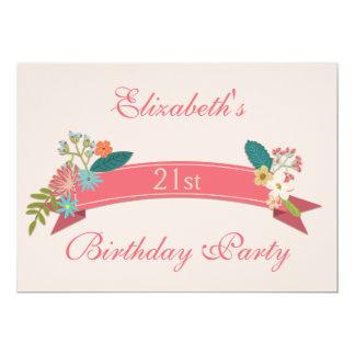 21st Birthday Vintage Flowers Pink Banner 13 Cm X 18 Cm Invitation Card