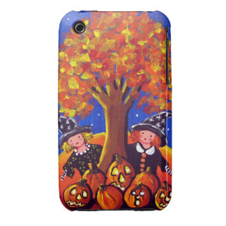 2 Little Witches Halloween Folk Art Fall iPhone Case-Mate iPhone 3 Case